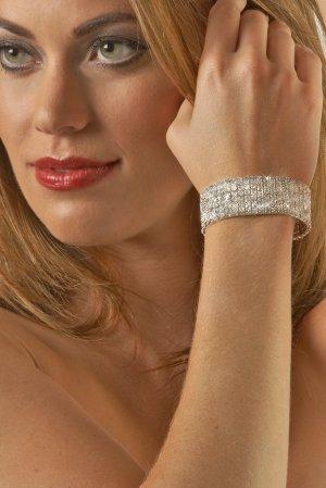 7-Row Clear Rhinestone Bracelet