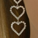 Triple Heart Rhinestone Earrings