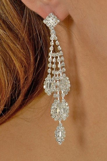 Marquis Drop Rhinestone Earrings