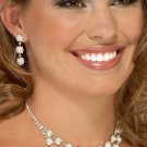Flowered 2-Row Pearl and Rhinestone Necklace Set