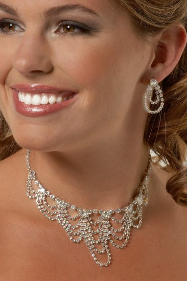 Crystal Waves Rhinestone Necklace Set