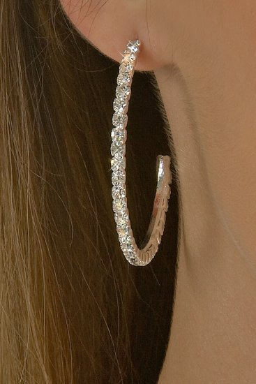 Large Hoop Rhinestone Earrings