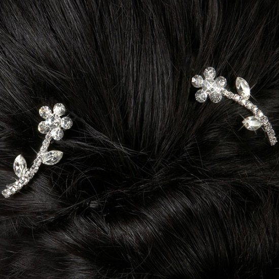 Flower Power Rhinestone Barrettes