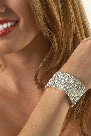 10-Row Clear Rhinestone Bracelet