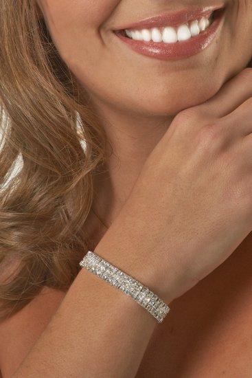 3-Row Clear Rhinestone Bracelet