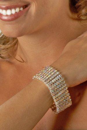 8-Row AB Rhinestone Clasp Bracelet