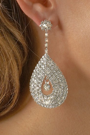 Large Drop Rhinestone Earrings