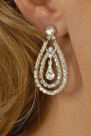 Double Drop Rhinestone Earrings