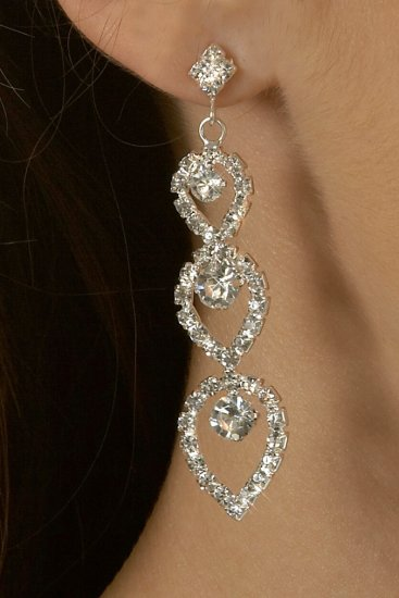 Triple Teardrop Rhinestone Earrings