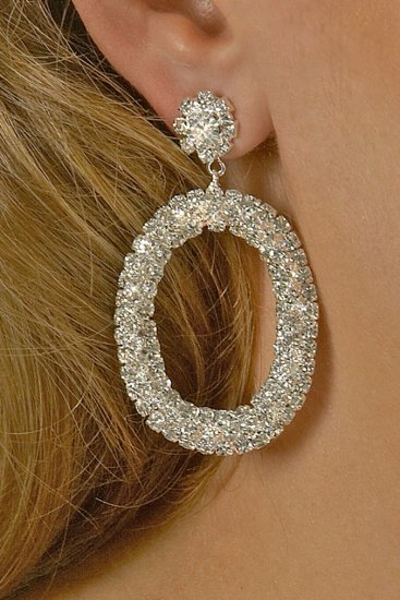 Large Oval Rhinestone Earrings
