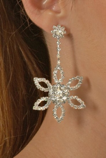 Large Flower Rhinestone Earrings
