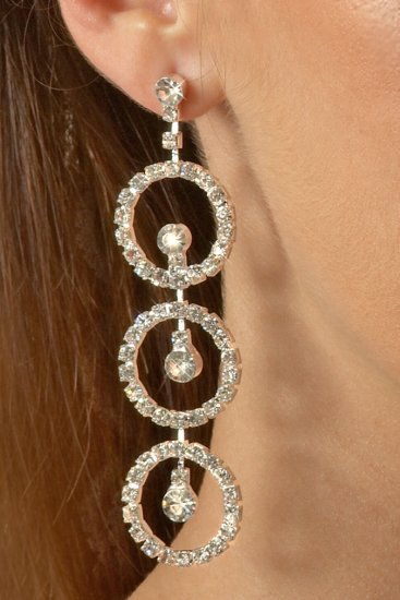 Triple Circle Rhinestone Earrings