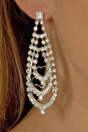 Triple Heart Rhinestone Earrings