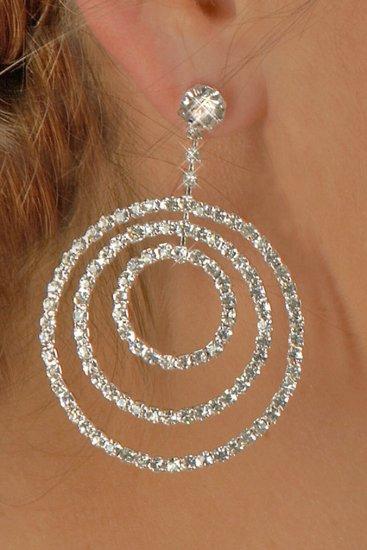 3-Circle Rhinestone Earrings
