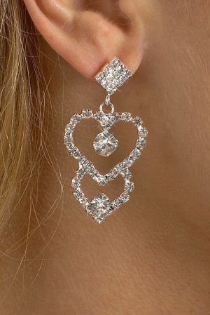 Connecting Hearts Rhinestone Earrings