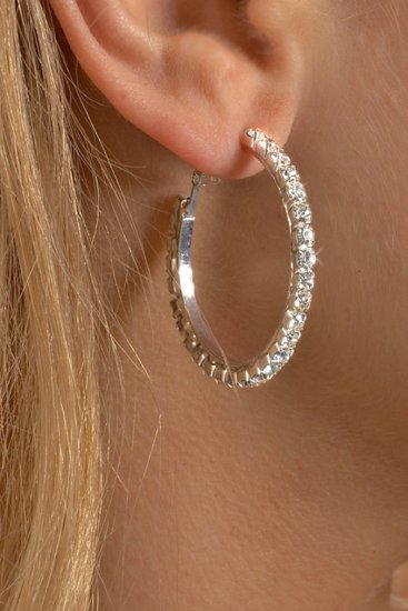Small Hoop Rhinestone Earrings