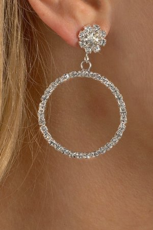 Dangling Hoop Rhinestone Earrings