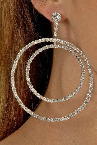 Clear Double Hoop Rhinestone Earrings