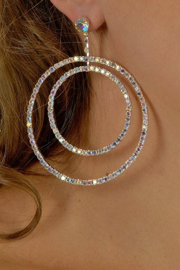 AB Double Hoop Rhinestone Earrings