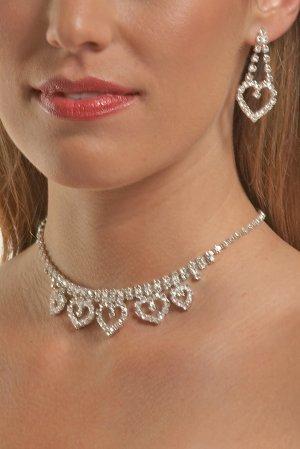 5-Heart Rhinestone Necklace Set