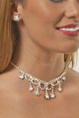 Crystal Flowered Rhinestone Necklace Set