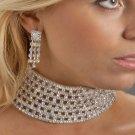 Large Rhinestone Collar Necklace Set