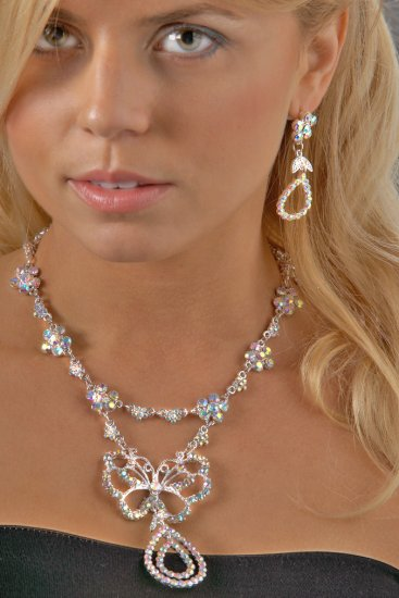 Butterfly AB Rhinestone Necklace Set