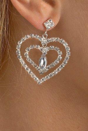 Double Heart Rhinestone Earrings