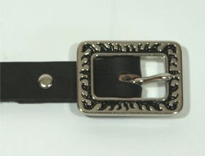 "Black Dress Belt with Flames Buckle - Size L (18""-22"")"