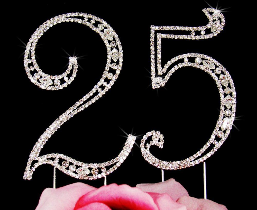 Silver Plated Swarovski Crystal 25th Anniversary Cake Topper