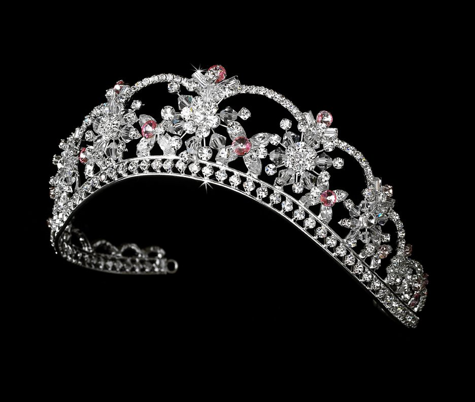 Pink Quinceanera Mis Quince Anos, Prom, Wedding Tiara with Swarovski Crystals