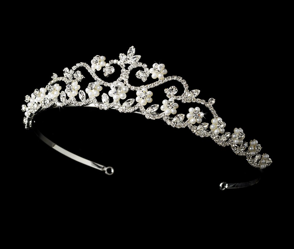 White Pearl and Rhinestone Quinceanera, Mis Quince Anos Tiara