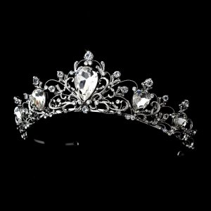 Antique Rhodium Silver Quinceanera Tiara Clear Rhinestone Crown Headpiece