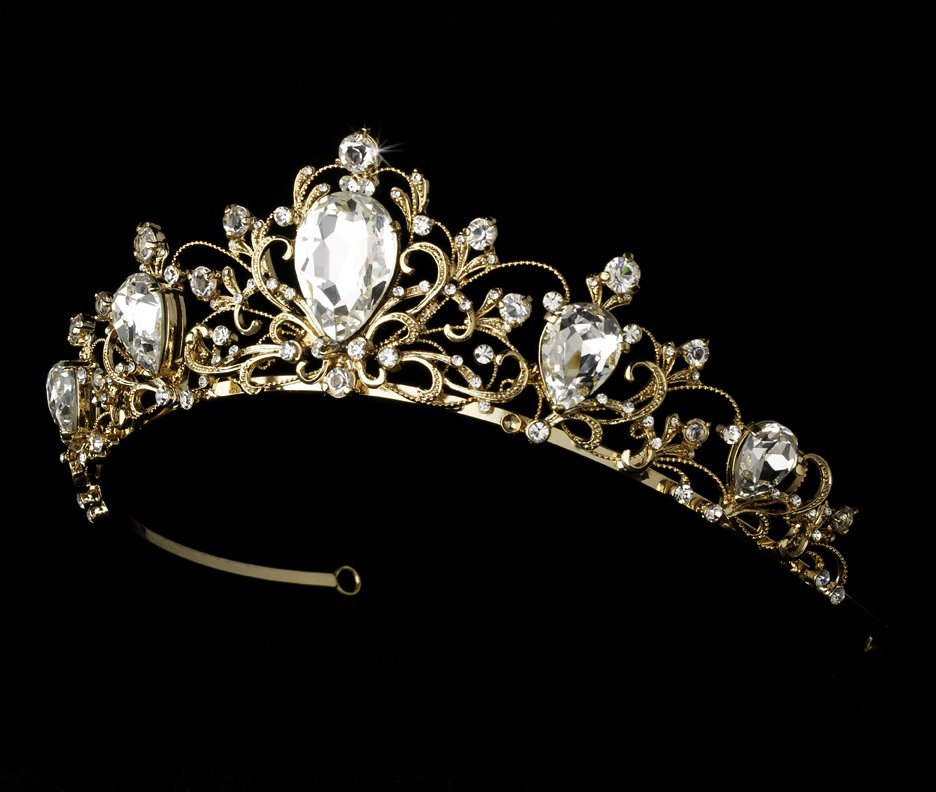 Gold Plated Tiara Rhinestone Headpiece for Quinceanera, Mis Quince Anos,  Prom