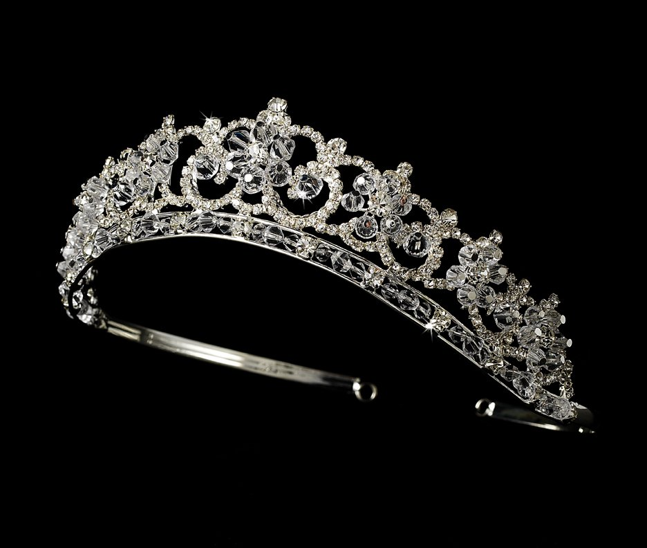 Silver Plated Crystal and Rhinestone Tiara for Quinceanera, Mis Quince Anos or  Prom