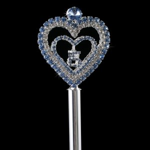Blue Heart Quinceanera Scepter Silver with Blue Rhinestones