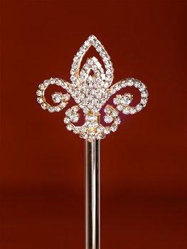 Silver Plated Rhinestone Fleur de Lis Scepter