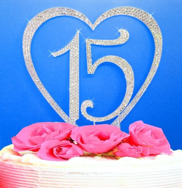 Crystal Covered Heart and 15 Quineanera Birthday Cake Topper