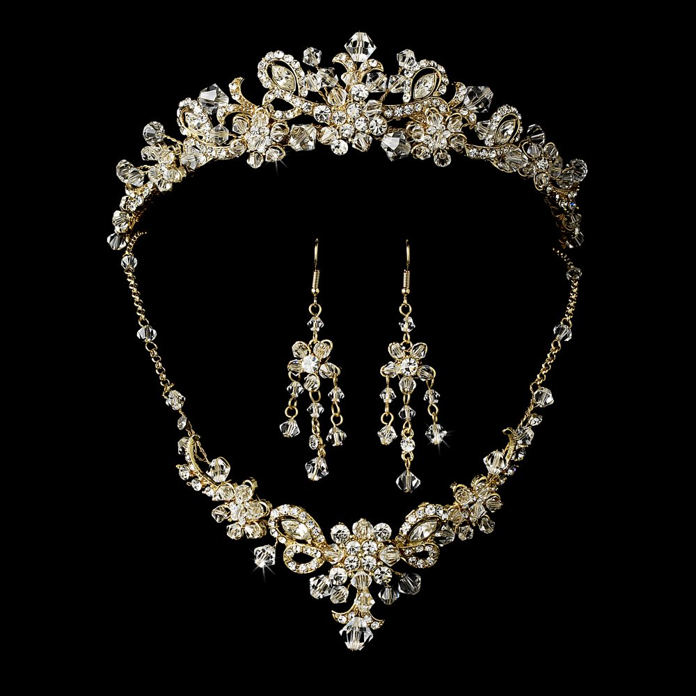 Exquisite Gold and Swarovski Crystals Tiara and Jewelry Set in Flower Design