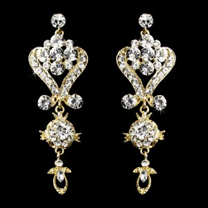 gold chandelier earrings for quinceanera or prom