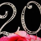 Silver Plated 20 Twentieth Anniversary Crystal Cake Topper