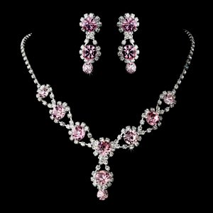 pink jewelry set rhinestone quinceanera mis quince anos