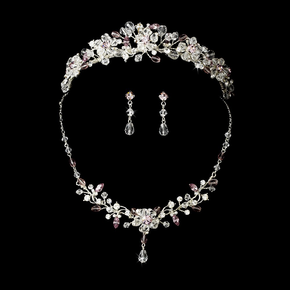 lilac tiara plus jewelry set for quinceanera mis