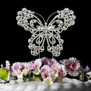 Sparkling Crystal Butterfly Cake Topper for Quinceanera