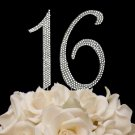 Glitz and Glamour Sweet 16 Sixteen Crystal Covered Birthday Party Cake Topper