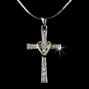 Cross with Heart Necklace for First Communion or Baptism
