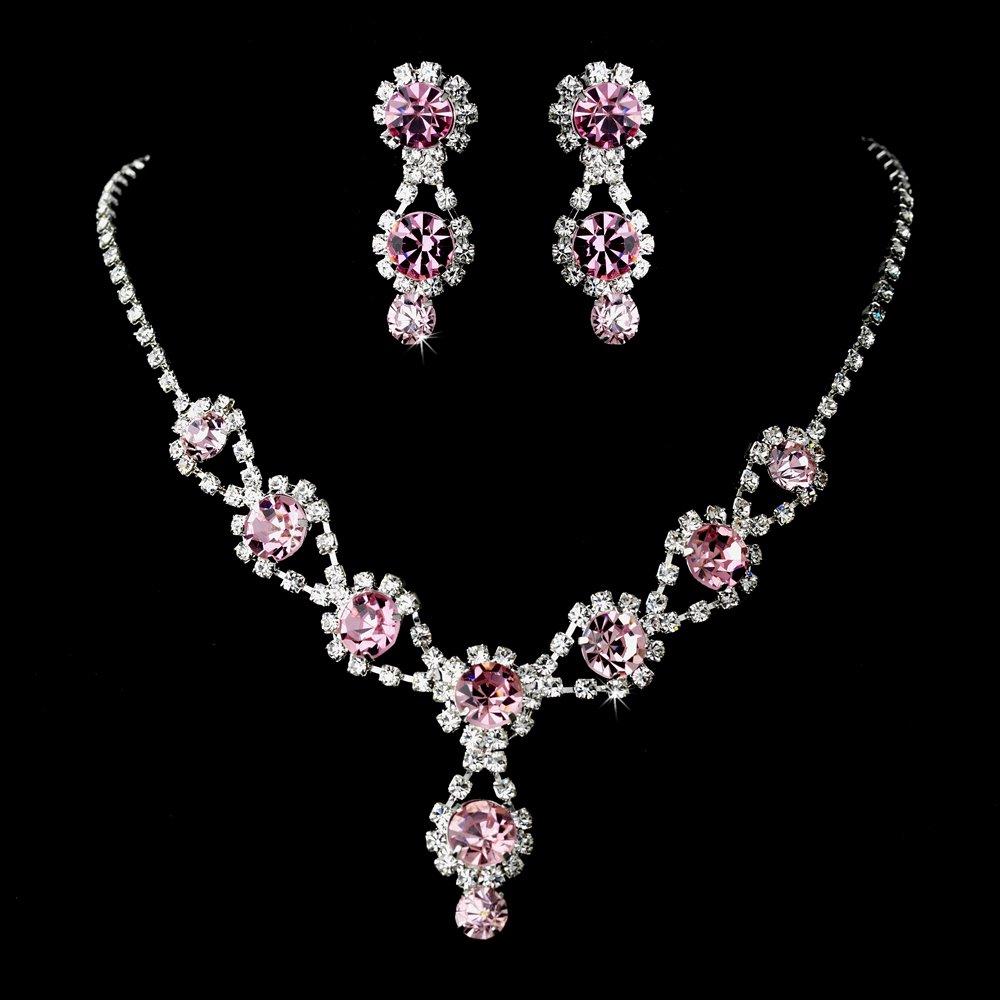 Pink jewelry set rhinestone wedding or prom for Pink wedding jewelry sets