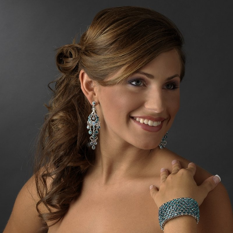 Sparkling Teal Crystal Bracelet and Earrings for Quinceanera, Mis Quince Anos
