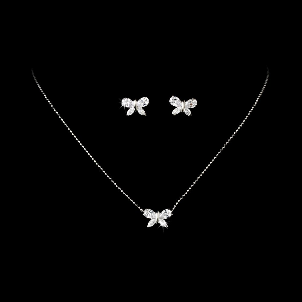 Sparkling Butterfly Necklace and Earring Set for First Communion, Flower Girl