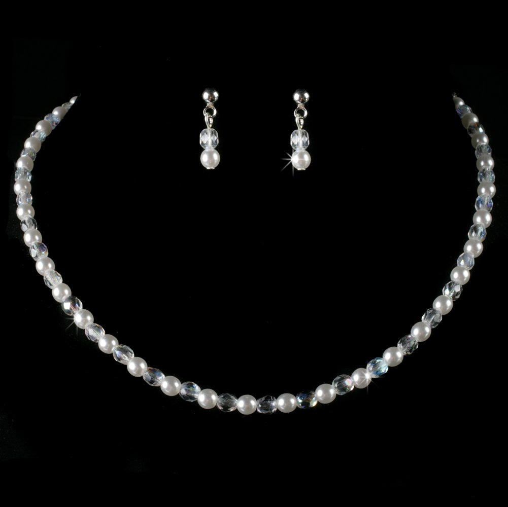Precious Pearl and AB Crystal Necklace and Earring Set for First Communion, Flower Girl